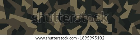 Geometric camouflage texture seamless pattern. Abstract modern military camo endless background. Ornament for fabric and fashion print. Vector illustration. Сток-фото ©
