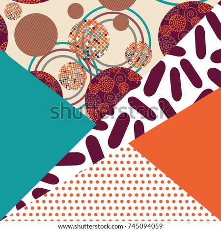 Geometric card flower vector illustration. Banner postcard art design. Background geometric memphis. Creative design combination of geometry with hand-drawn prints. #745094059