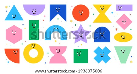 Geometric character shapes with face emotions, different cartoon basic figures. Cute colorful shapes, trendy colors, vector illustrations for children education.  Foto d'archivio ©