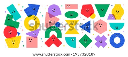 Geometric character shapes with face emotions, different cartoon basic figures. Cute colorful shapes, trendy colors, hand drawn textures, vector illustrations for children education.  Stockfoto ©