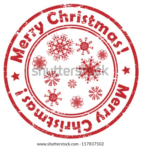 Geometric Christmas stamp with snowflakes isolated on white