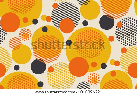 Geometric circle seamless pattern vector illustration in retro 60s style. Vintage 1970s ball shapes abstract motif in hot orange and yellow colors for carpet, wrapping paper, fabric, background.