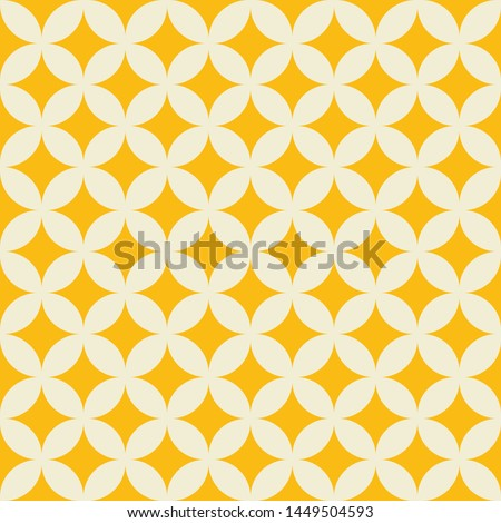 Geometric circle shapes seamless pattern ecru white with yellow background - Fabric texture design, wallpaper and tile