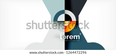 Geometric colorful shapes composition abstract background. Minimal dynamic design. Trendy abstract layout template for business or technology presentation or web brochure cover, wallpaper. Vector #1264472296