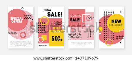 Geometric concept design for sale banners. Memphis style discount offer. Modern promotion template