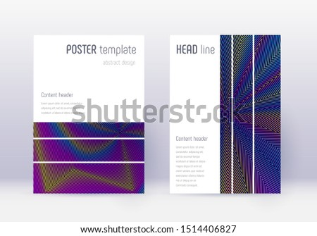 Geometric cover design template set. Rainbow abstract lines on dark blue background. Bizarre cover design. Amazing catalog, poster, book template etc.