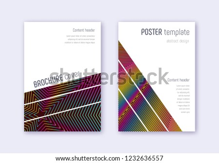 Geometric cover design template set. Rainbow abstract lines on wine red background. Captivating cover design. Amazing catalog, poster, book template etc.