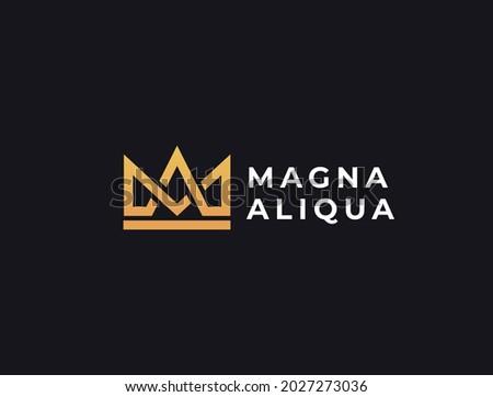 Geometric creative crown logo design.  Letters MA or AM monogram vector template. Royal crown symbol logotype. Stok fotoğraf ©
