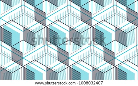 Geometric cubes abstract seamless pattern, 3d vector background. Technology style engineering line drawing endless illustration. Usable for fabric, wallpaper, wrapping, web and print. #1008032407