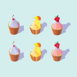 Geometric Cupcakes Vector in pastel color for your illustrations and designs. Polygonal pop art style with shadow. EPS8