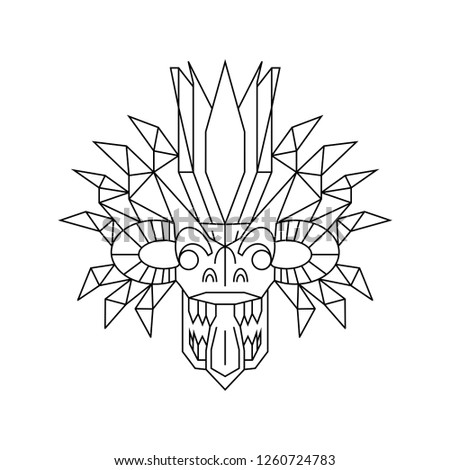 Geometric Demon, Traditional Sri Lankan Mask, Yaka Stok fotoğraf ©