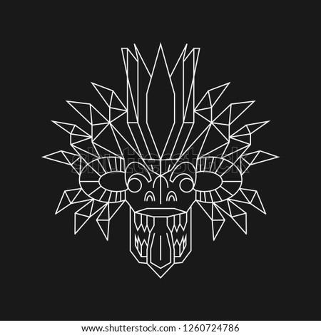 Geometric Demon, Traditional Sri Lankan Mask, Yaka Stok fotoğraf ©