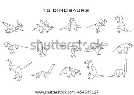 geometric dinosaurs  vector