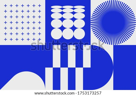 Geometric distress aesthetics in abstract pattern design. Brutalism inspired vector graphics collage made with simple geometric shapes and grunge texture, useful for poster art and digital prints.
