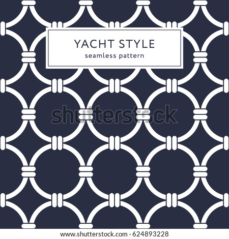 Geometric elegant seamless pattern. Yacht style design. Abstract background decoration. Vector illustration for fashion design. Modern elegant wallpaper. Navy blue color.