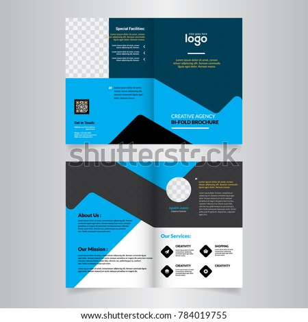 Geometric Elements Blue Colors Business Bi-Fold Brochure Design. Corporate Leaflet, Cover Template