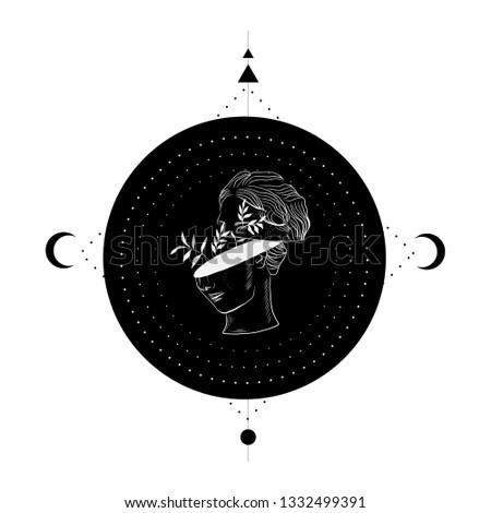 Geometric esoteric symbols with sculpture. Symbol of harmony, moon, sun. Tattoo flesh design, yoga logo.