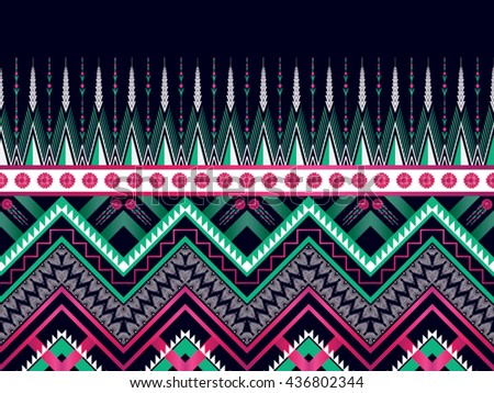 Geometric ethnic oriental pattern traditional Design for background,carpet,wallpaper,clothing,wrapping,fabric,Vector illustration.