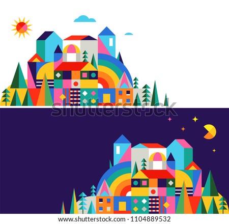 Geometric fairy tale kingdom, knight castle, children room, class wall decoration. Colorful vector illustration
