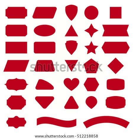 Geometric figure for decoration text of holiday card in collection. Red Vector set shapes for message. Simple labels and signs for graphic design in red color