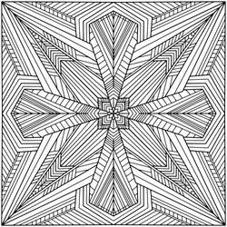 geometric figures forming an abstract square mandala drawn by hand on a white background for coloring, vector, mandala
