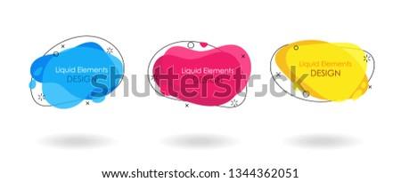 Geometric flat banner set. Liquid splash shapes. For use in logo, sale, promotion. Vector sale trendy banner