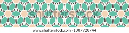Geometric floral circle damask seamless border pattern. Vector ribbon banner background. Pretty summer 1950s quilt edging fashion style. Trendy vintage home decor. Hand drawn textile trim. Mint green Stock photo ©