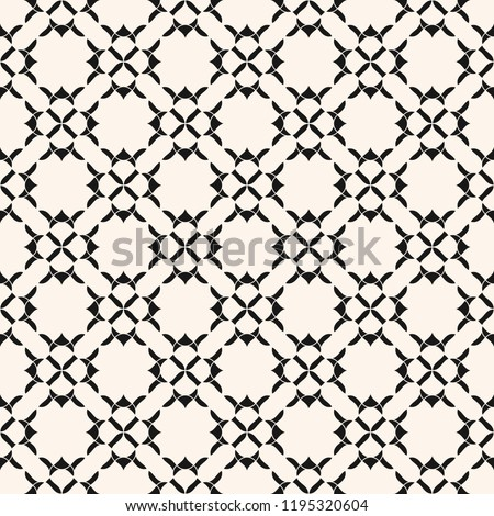 Geometric floral seamless pattern. Vector abstract texture with curved shapes, flower silhouettes, carved grid, lattice, mesh. Elegant black and white ornamental background. Oriental style ornament