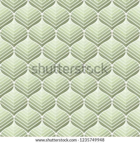 Geometric floral vector seamless pattern. Abstract vector texture. Art Deco Leaves background. #1235749948