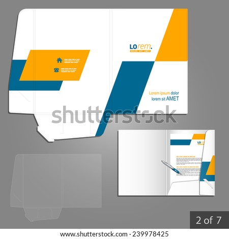 Geometric folder template design for company with yellow and blue square shapes. Element of stationery.