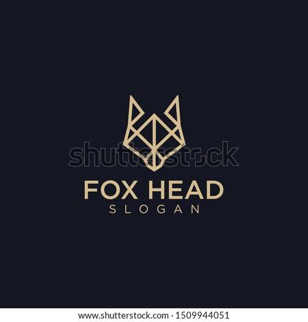 geometric fox head on black
