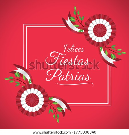 Geometric frame, message that says ' Felices fiestas patrias' Decoration plant and cockade celebration independence day Peru, background red vector illustration. Foto stock ©