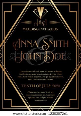 Geometric Gatsby Art Deco Style Wedding Invitation Design