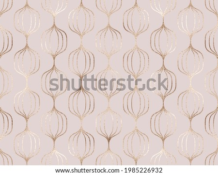 Geometric gold decorative bauble seamless pattern.