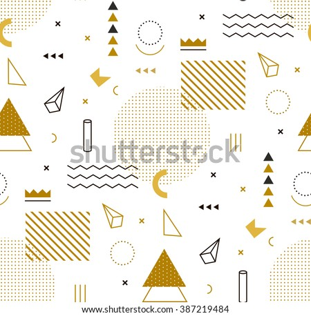 Geometric gold pattern for fashion and wallpaper. Memphis style for fashion. - Shutterstock ID 387219484