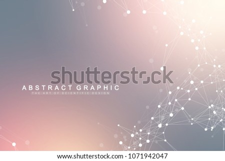 Geometric graphic background artificial intelligence. Turbulence flow trail. Futuristic science and technology background. Big data visualization complex with compounds. Cybernetics illustration.