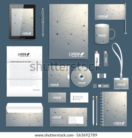 Geometric graphic set of vector corporate identity template. Business stationery mock-up. Scientific cybernetic background molecule and communication. Lines plexus. Minimal array with compounds