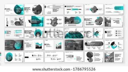 Geometric Green Presentation Element Templates. Vector infographics. For use in Presentation, Flyer and Leaflet, SEO, Marketing, Webinar Landing Page Template, Website Design, Banner.