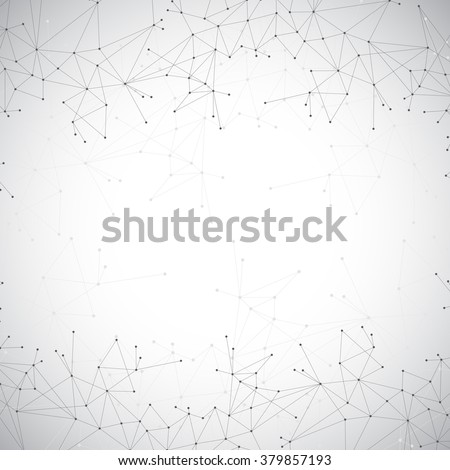 Geometric grey background molecule and communication . Connected lines with dots. Vector illustration.