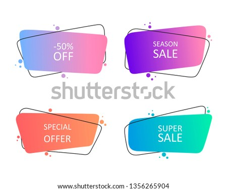 Geometric hand drawn banners. Modern abstract gradient shapes for logo, sale promotion, discount title frame. Flat style vector illustration.