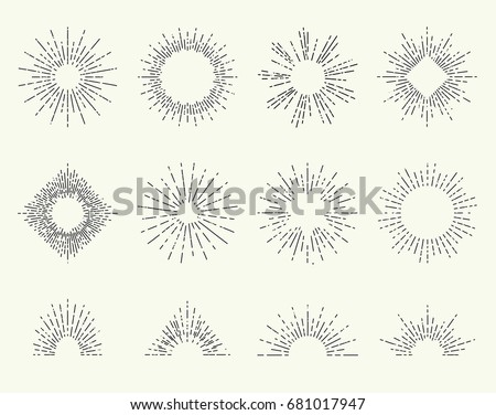 Geometric hand drawn sun beams in round or circle form. Star shining with rays in form of lines, linear sunlight waves. Summer and sunset, sunrise and radial sunburst symbol, nature sunburst theme