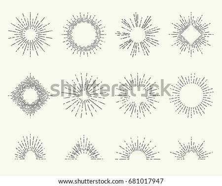 geometric hand drawn sun beams...
