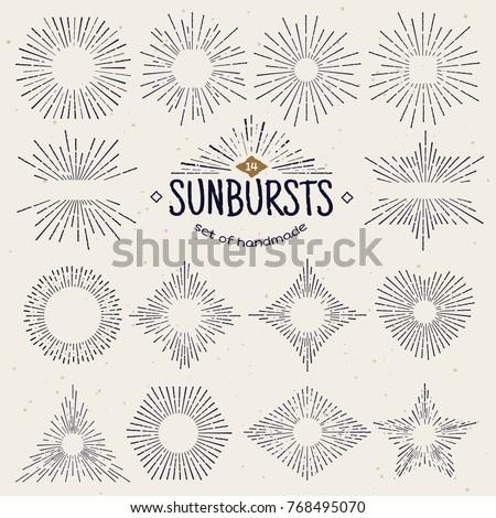 geometric hand drawn sunburst ...