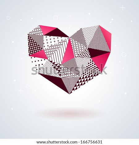 geometric heart for valentines