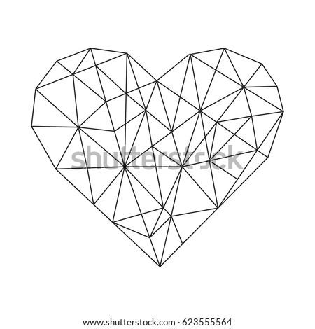 Geometric Hearts - Geometric heart vector minimal wireframe