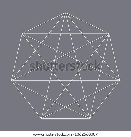 Geometric heptagon polygon with diagonal angles drawn. Geometry vector design shape, element Stock foto ©