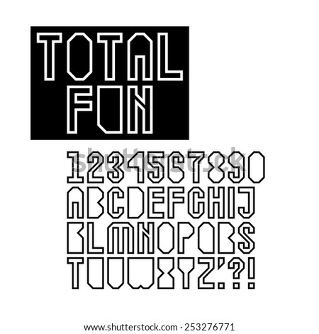 geometric hollow font set with letters in uppercase digits and punctuation marks