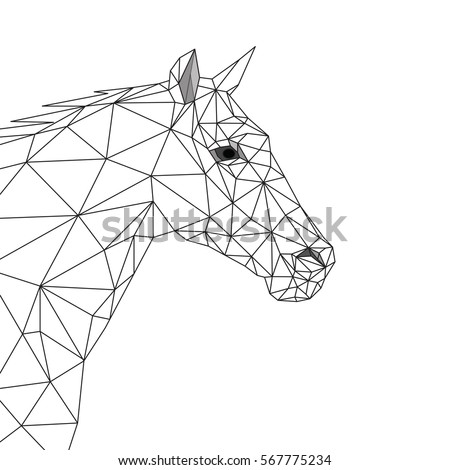 geometric horse  side view