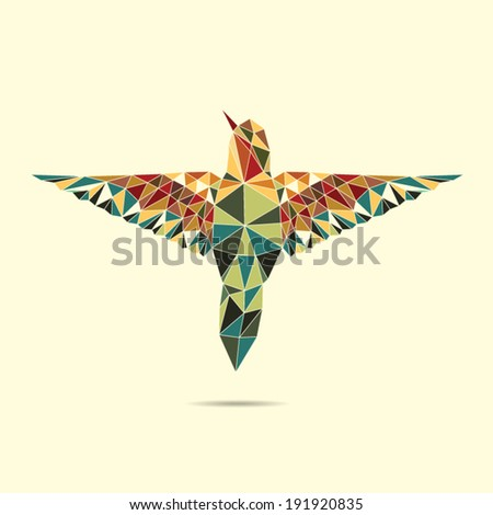 geometric hummingbird abstract colour