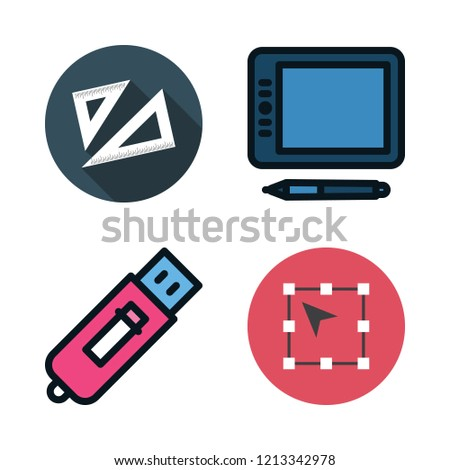 geometric icon set. vector set about technological, set square and vector icons set.